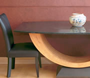 "PARRIS TABLE: 42"" X 72"" Boat shaped Absolute Black"