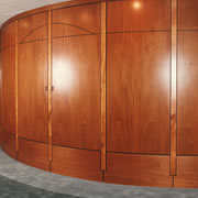 Woodpecker Enterprises - Curved Mahogany Media Wall